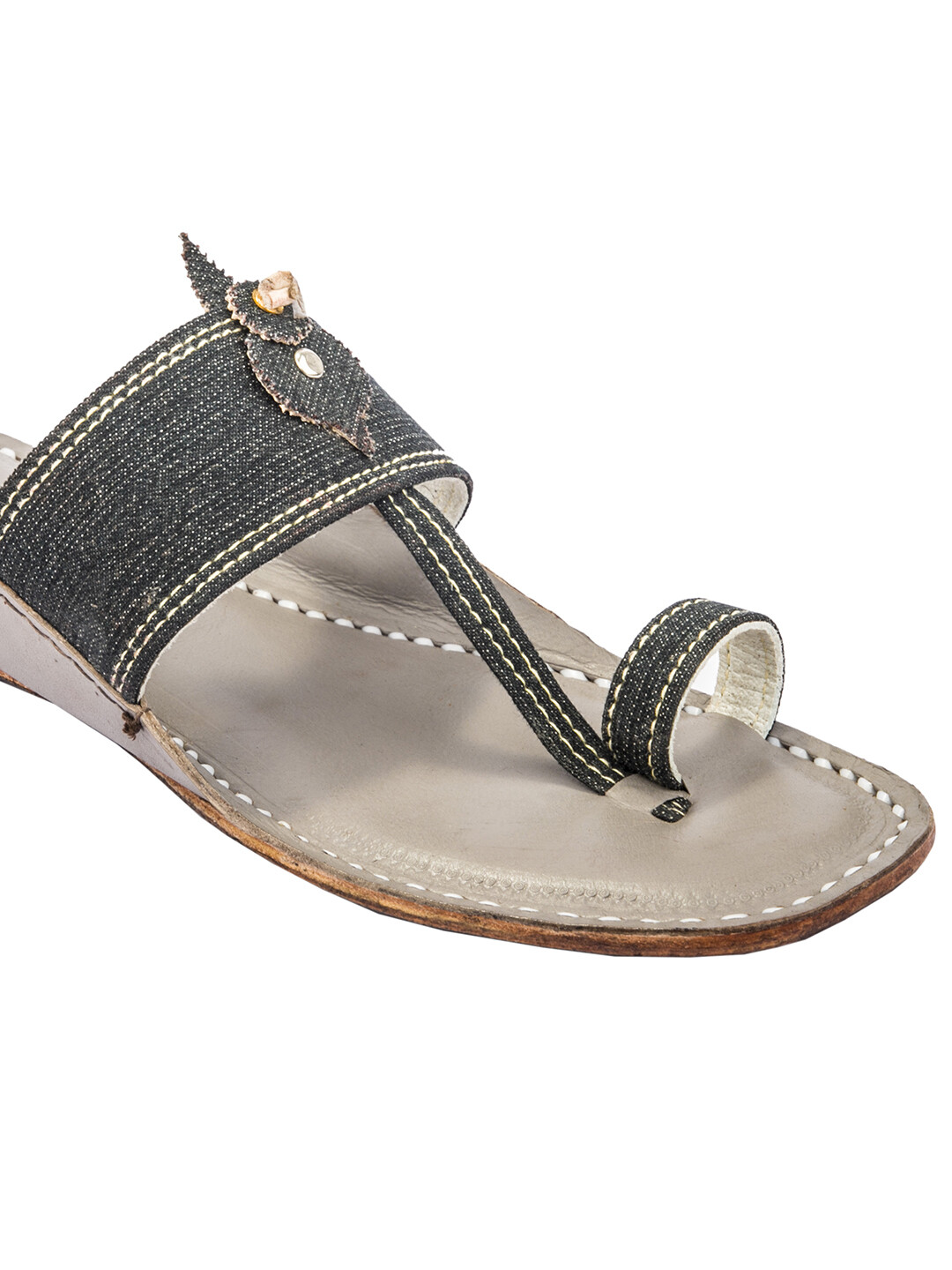 KORAKARI Light Grey Base and Dark Grey Denim Upper Pure Leather Kolhapuri Sandal for Men