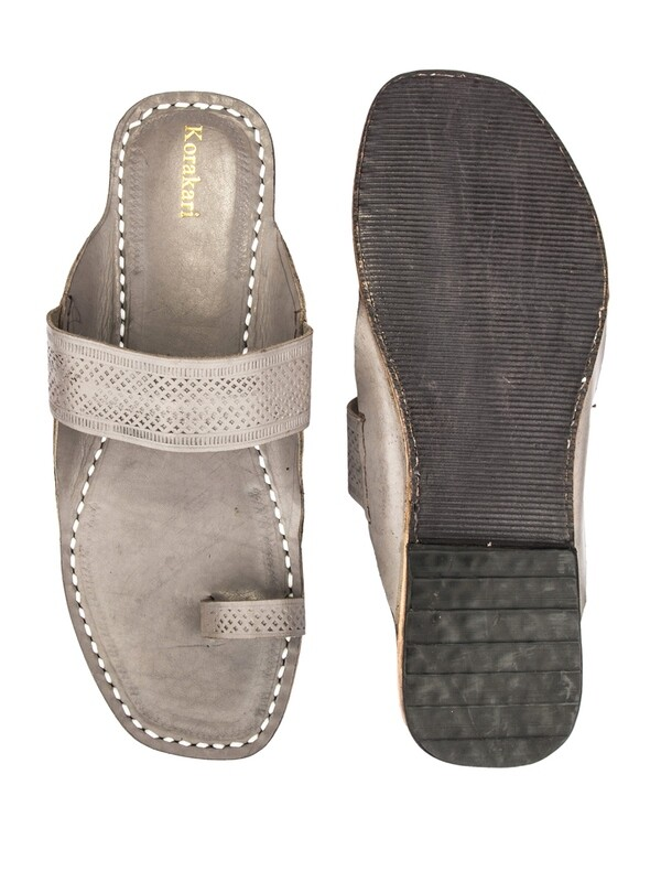 KORAKARI Grey Pure Leather Authentic Kolhapuri Chappal for Men