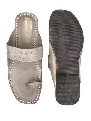 KORAKARI Grey Pure Leather Authentic Kolhapuri Chappal for Men