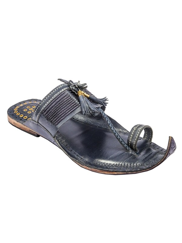 KORAKARI Dark blue Traditional design Pure Leather Kolhapuri Chappal for Men