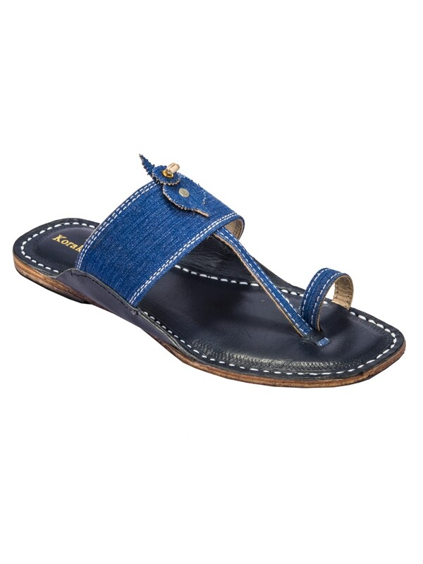 KORAKARI Dark Blue Base and Blue Denim Upper Pure Leather Kolhapuri Sandal for Men