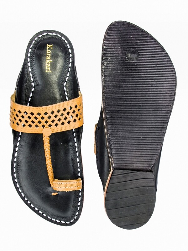 KORAKARI Decent Dark Yellow Diamond Punching Upper and Black Base Pure Leather Authentic Kolhapuri Chappal for Men