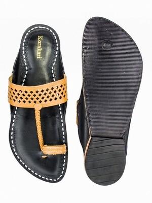KORAKARI Decent Dark Yellow Diamond Punching Upper and Black Base Pure Leather Authentic Kolhapuri Chappal for Men
