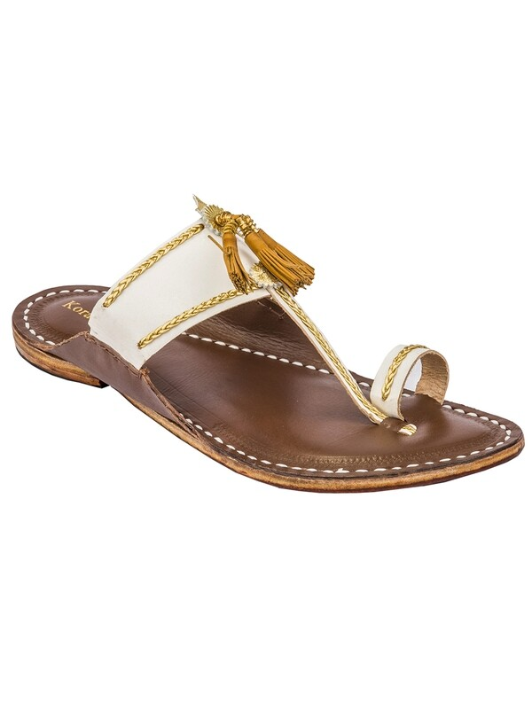 KORAKARI White Upper and Brown Base Yellow Pom-Pom Pure Leather Kapshi Kolhapuri Chappal for Men