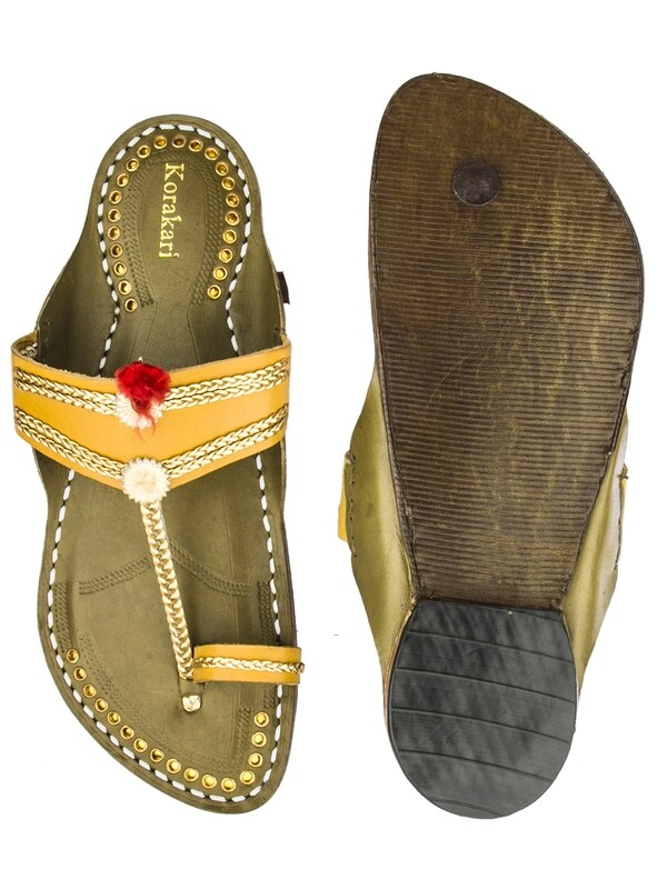 KORAKARI Dark Yellow Upper and Seaweed Base Pure Leather Authentic Kolhapuri Chappal for Men
