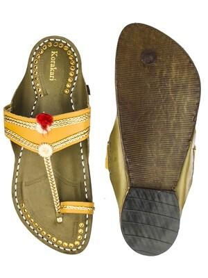 KORAKARI Dark Yellow Upper and Seaweed Base Pure Leather Authentic Kolhapuri Chappal for Men