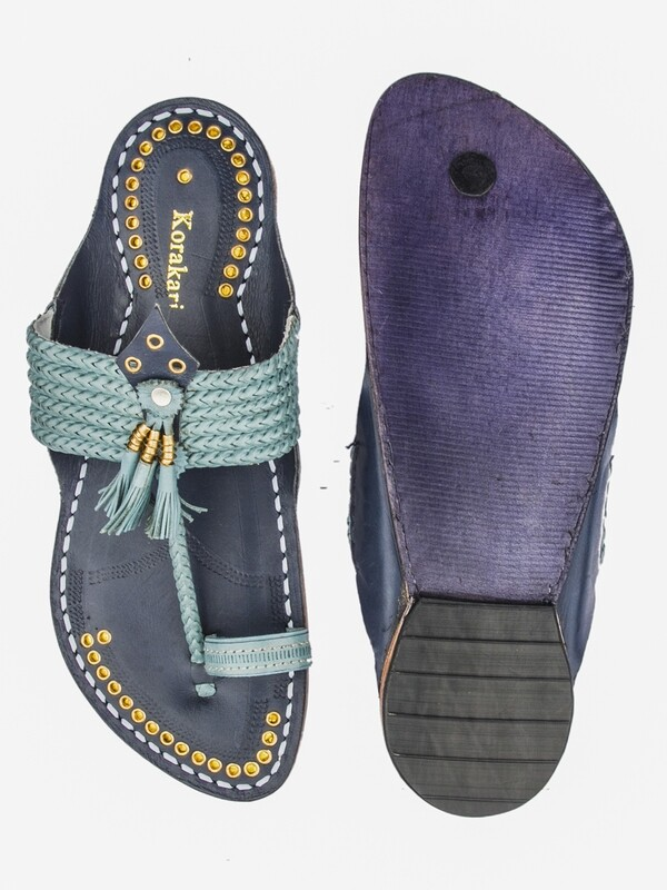 KORAKARI Sky Blue Upper and Dark Blue Base Pure Leather Kapshi Kolhapuri Chappal for Men