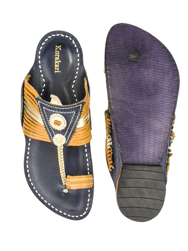 KORAKARI Yellow Upper and Dark Blue Base Pure Leather Kapshi Kolhapuri Chappal for Men