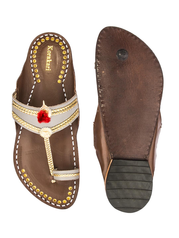 KORAKARI Grey Upper and Brown Base Golden Braids Kolhapuri Chappal for Men