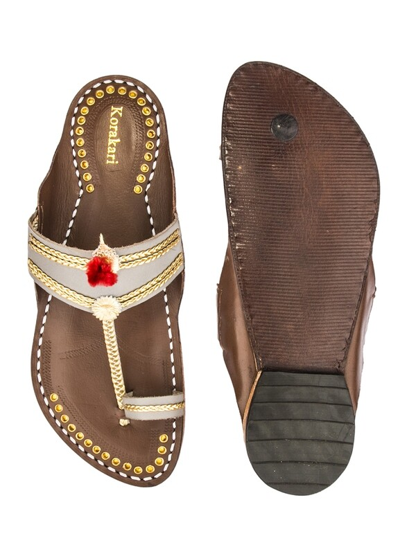 KORAKARI Grey Upper and Brown Base Golden Braids Kolhapuri Chappal for Men