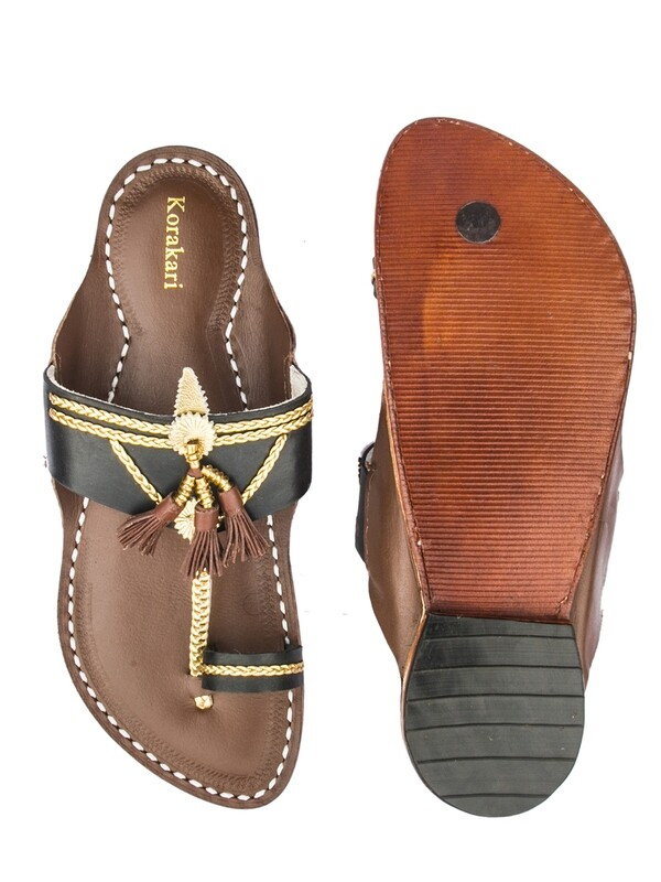 KORAKARI Dazzling Black Upper and Dark Brown Base with Brown Pom-Pom Pure Leather Kolhapuri Chappal for Men