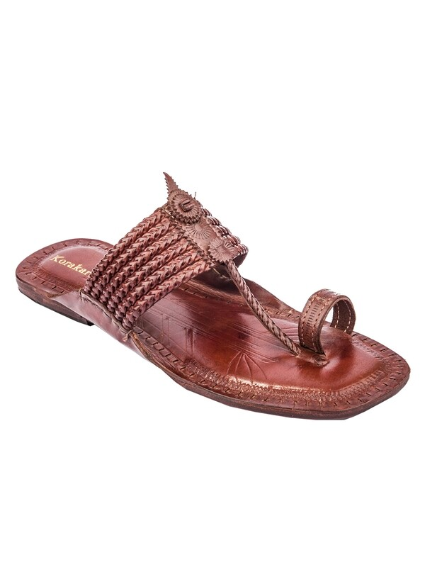 KORAKARI Brown Six Braided Pure Leather Kolhapuri Chappal for Men