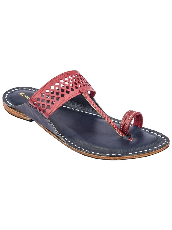 KORAKARI Cherry Red Diamond Punching Upper and Dark Blue Base Pure Leather Authentic Kolhapuri Chappal for Men