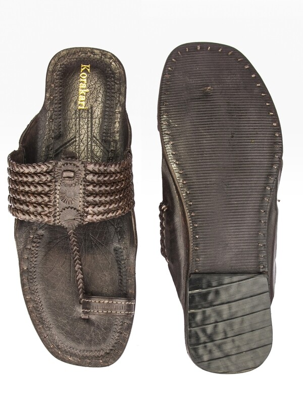 KORAKARI Dark Brown Six Braided Pure Leather Kolhapuri Chappal for Men