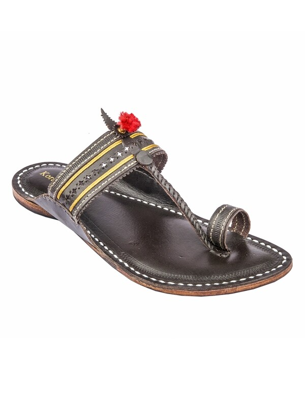 KORAKARI Dark Brown Punching Kapshi Pure Leather Authentic Kolhapuri Chappal for Men