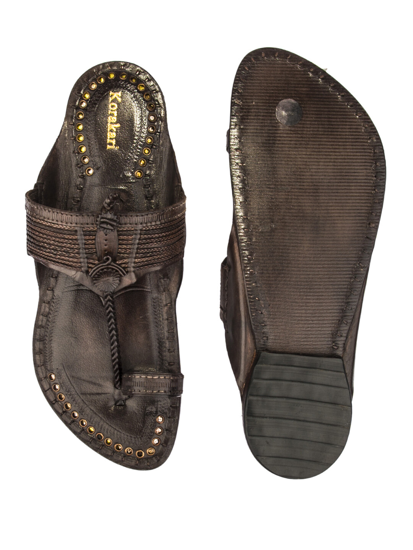 KORAKARI Dark Brown Vintage Design Pure Leather Authentic Kolhapuri Chappal for Men