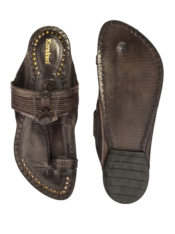 KORAKARI Dark Brown Vintage Design Pure Leather Authentic Kolhapuri Chappal for Men