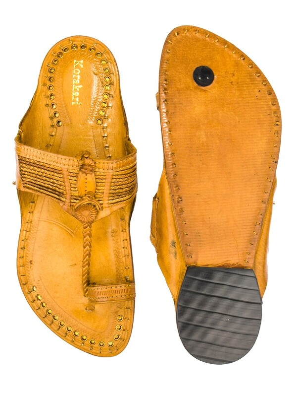 KORAKARI Tan Vintage Design Authentic Pure Leather Kolhapuri Chappal for Men