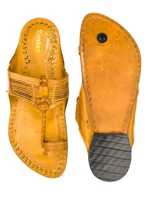 KORAKARI Tan Vintage Design Authentic Pure Leather Kolhapuri Chappal for Men