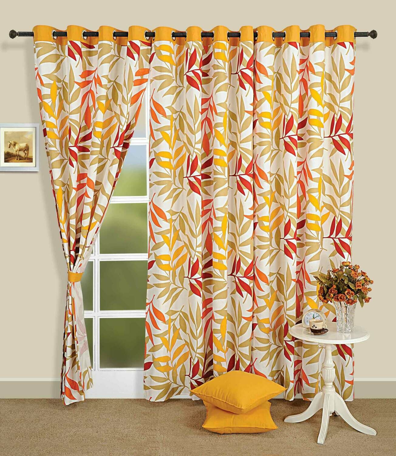 Swayam Yellow Colour Leaf Printed Eyelet Curtain for Window