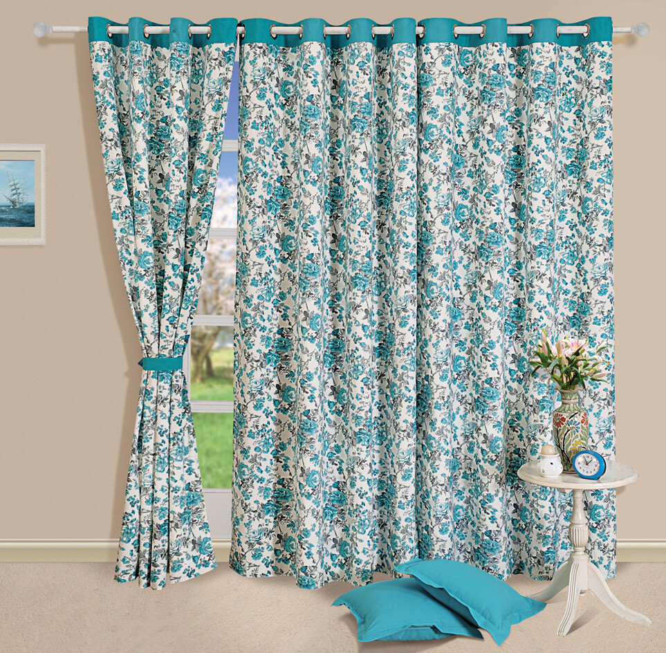 Swayam Turquoise Colour Floral Printed Eyelet Curtain for Window
