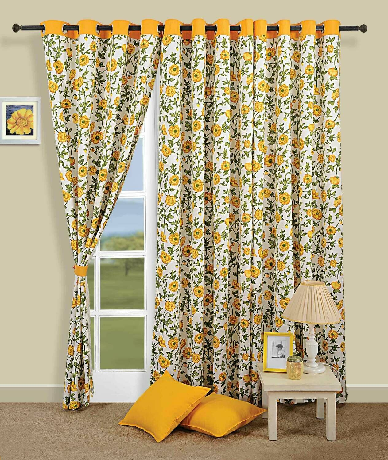 Swayam Yellow Colour Floral Printed Eyelet Curtain for Window