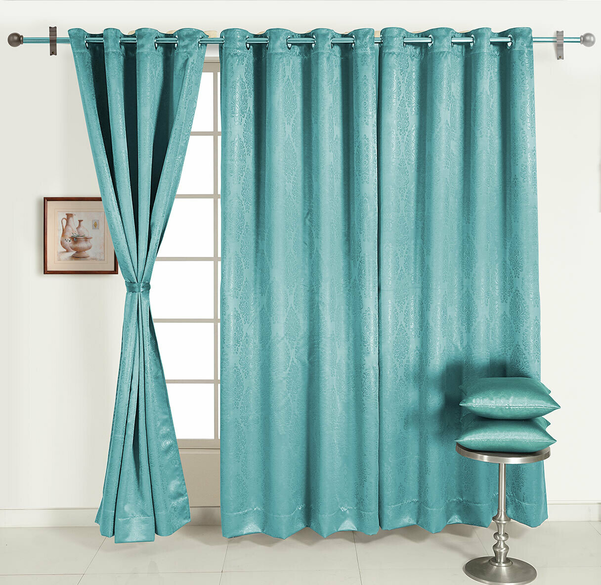 Swayam Turquoise Colour Motif J&B Blackout Eyelet Curtain for Door
