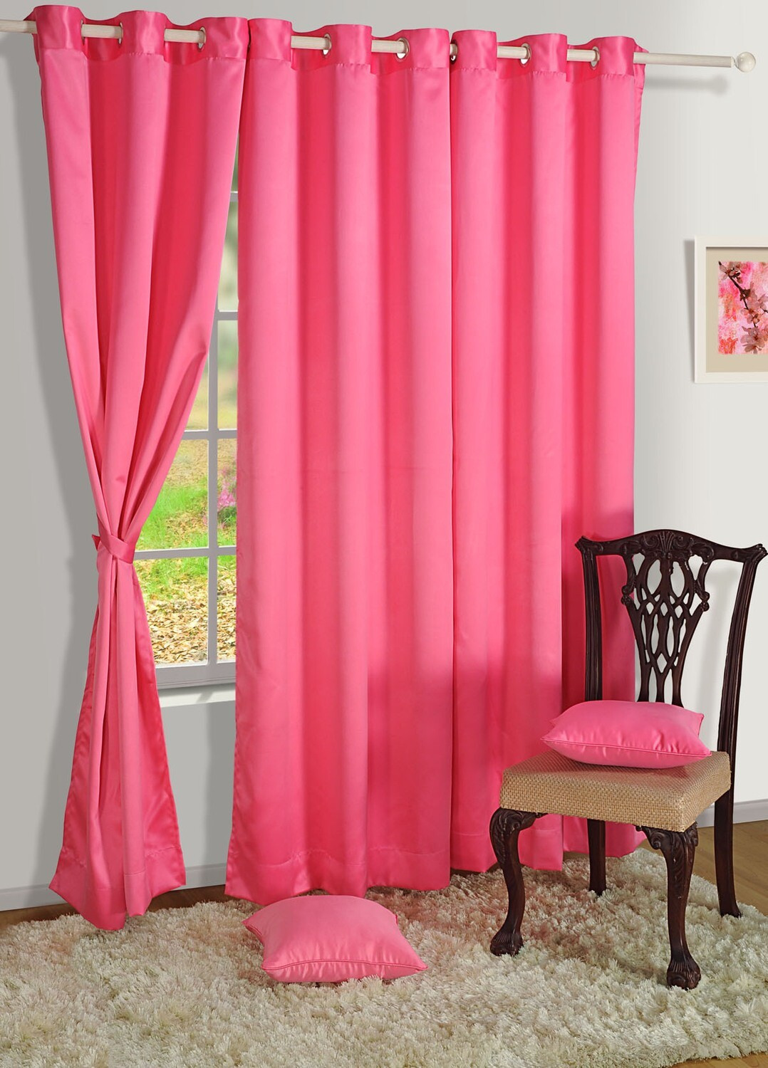 Swayam Pink Colour Solid Blackout Eyelet Curtain for Window