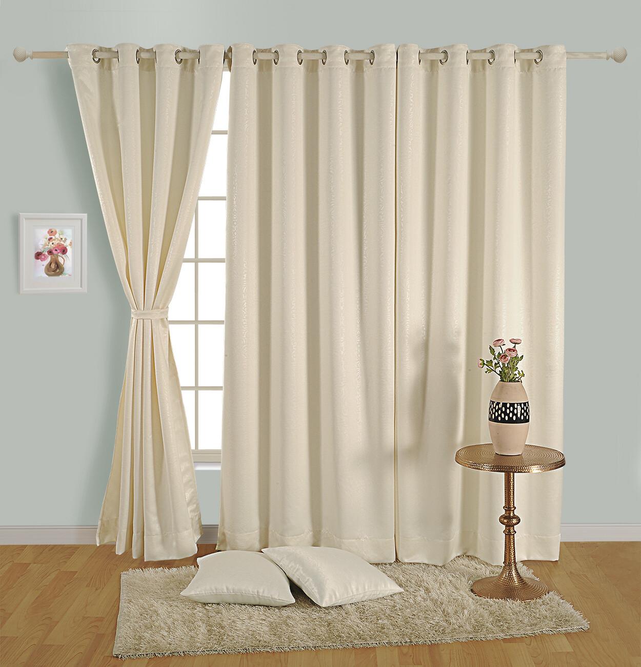 Swayam Off White Colour Paisley J&B Blackout Eyelet Curtain for Window