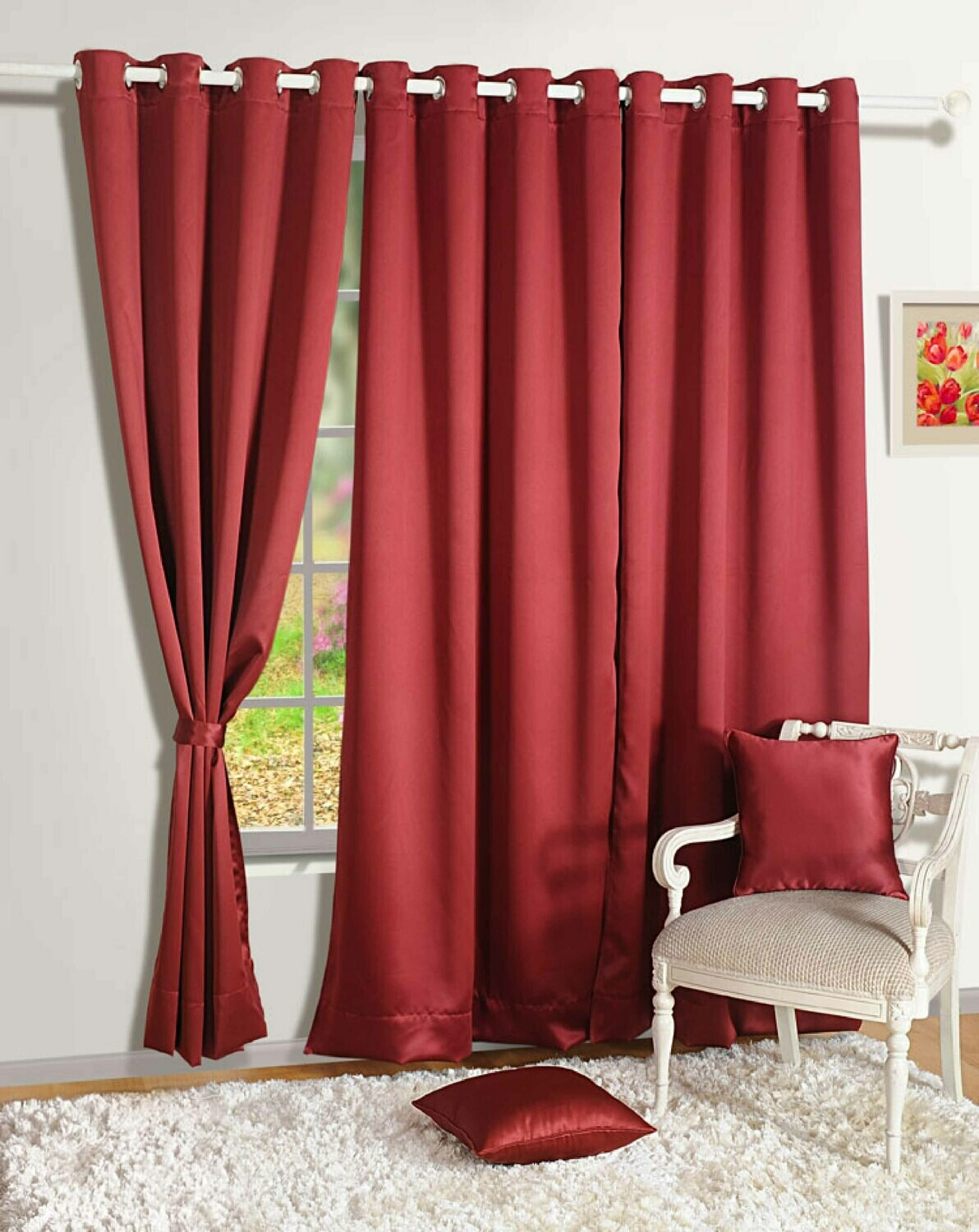 Swayam Maroon Colour Solid Blackout Eyelet Curtain for Window