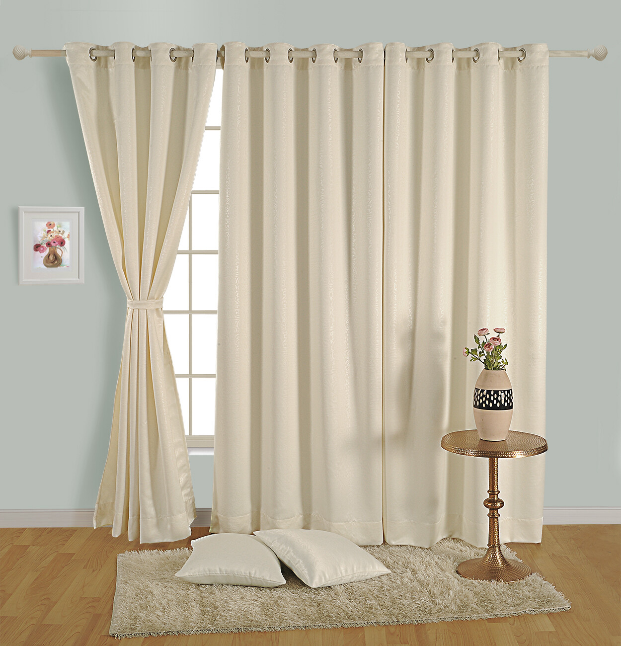 Swayam Off White Colour Paisley J&B Blackout Eyelet Curtain for Door