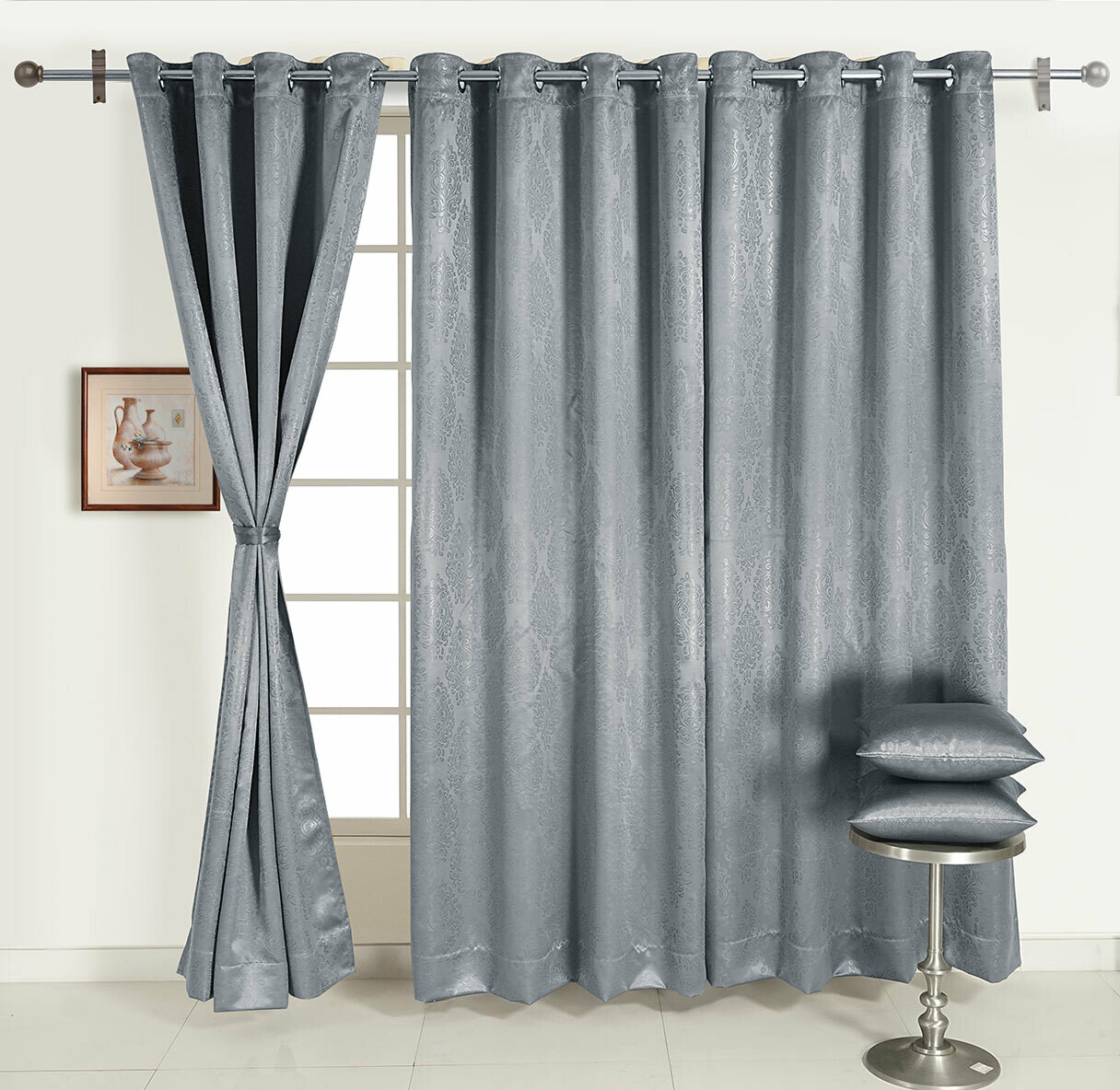 Swayam Grey Colour Motif J&B Blackout Eyelet Curtain for Window