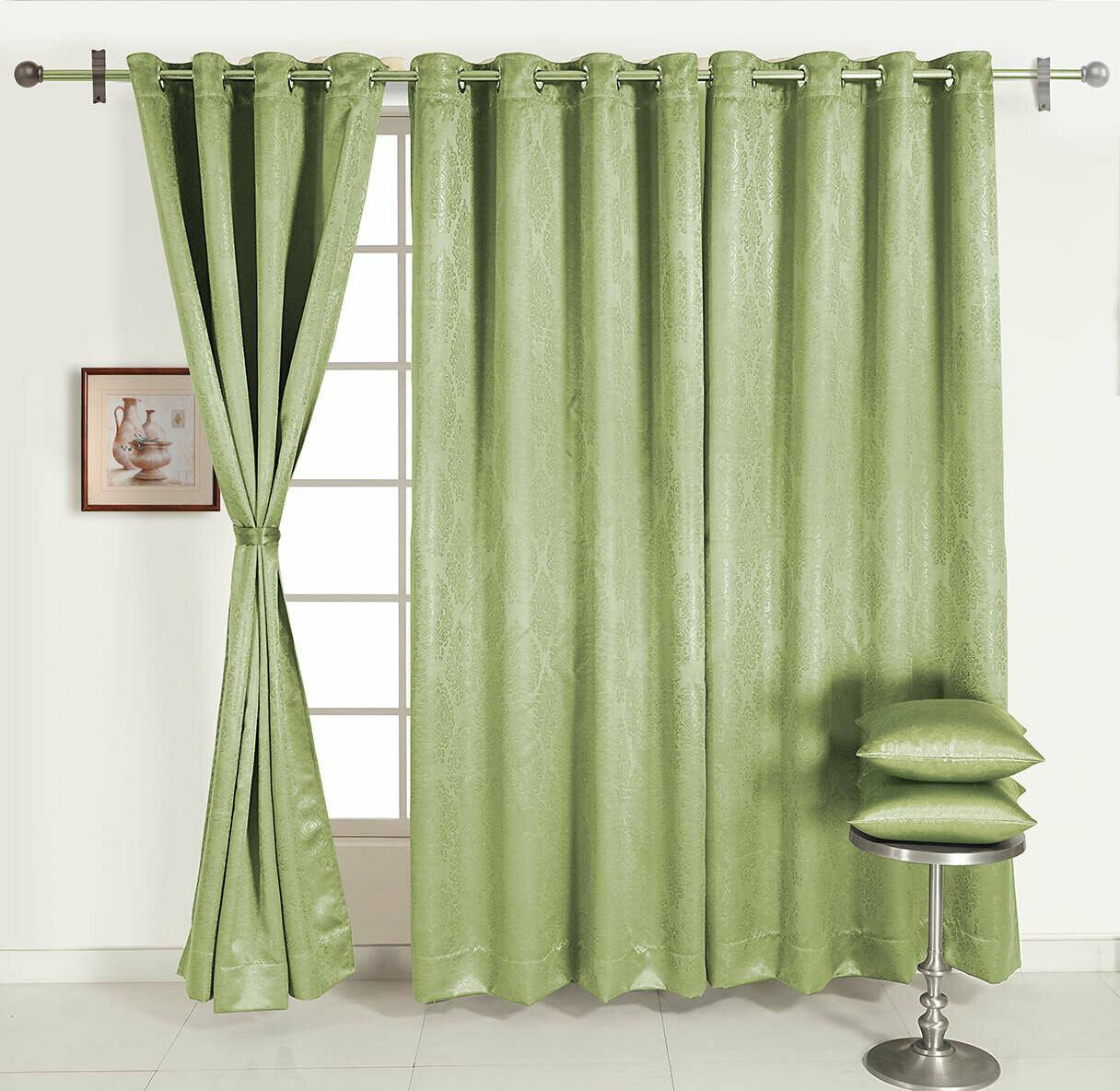 Swayam Green Colour Motif J&B Blackout Eyelet Curtain for Door
