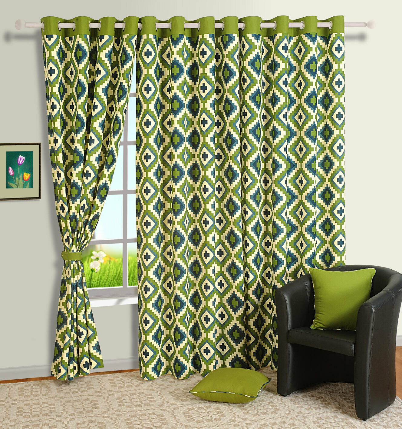 Swayam Green Colour Geometrical Printed Eyelet Curtain for Window