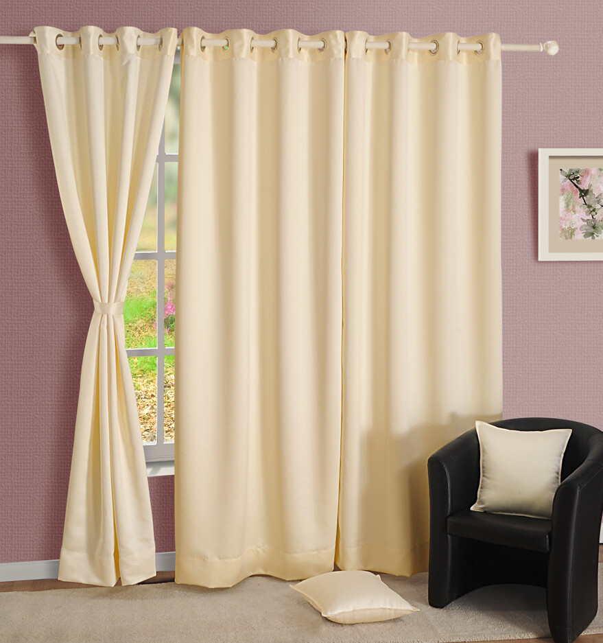 Swayam Cream Colour Solid Blackout Eyelet Curtain for Window