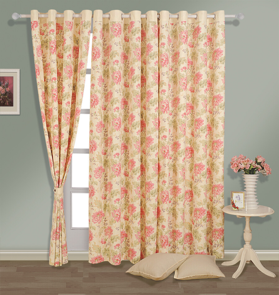 Swayam Cream Colour Floral Printed Eyelet Curtain for Window