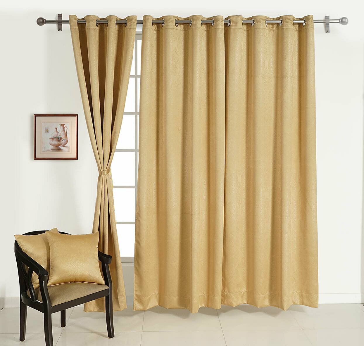 Swayam Beige Colour Motif J&B Blackout Eyelet Curtain for Door