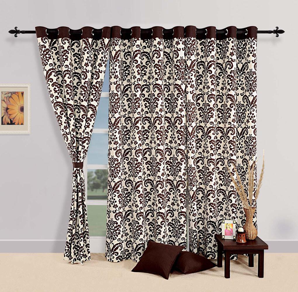 Swayam Choco Colour Ethnic Printed Eyelet Curtain for Window