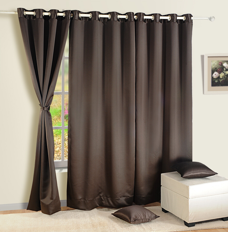 Swayam Choclate Brown Colour Solid Blackout Eyelet Curtain for Window