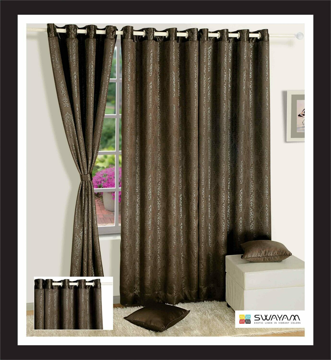 Swayam Choclate Brown Colour Paisley J&B Blackout Eyelet Curtain for Window