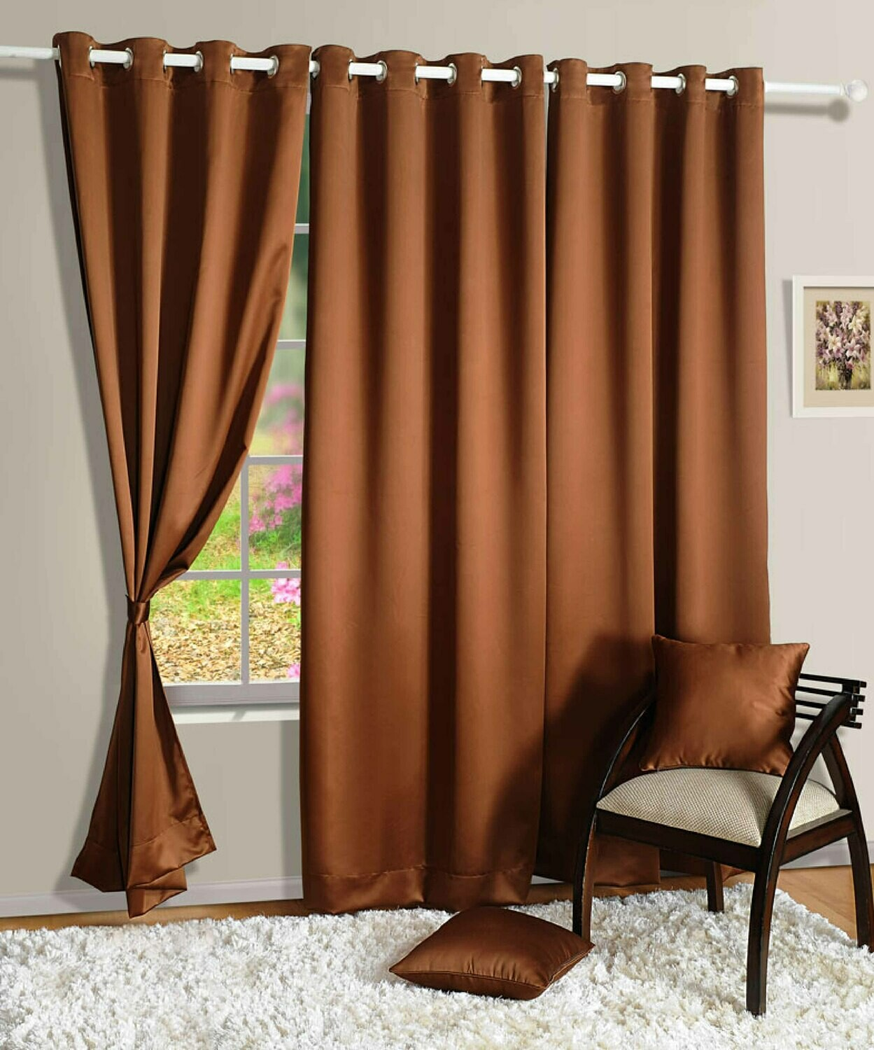 Swayam Brown Colour Solid Blackout Eyelet Curtain for Door