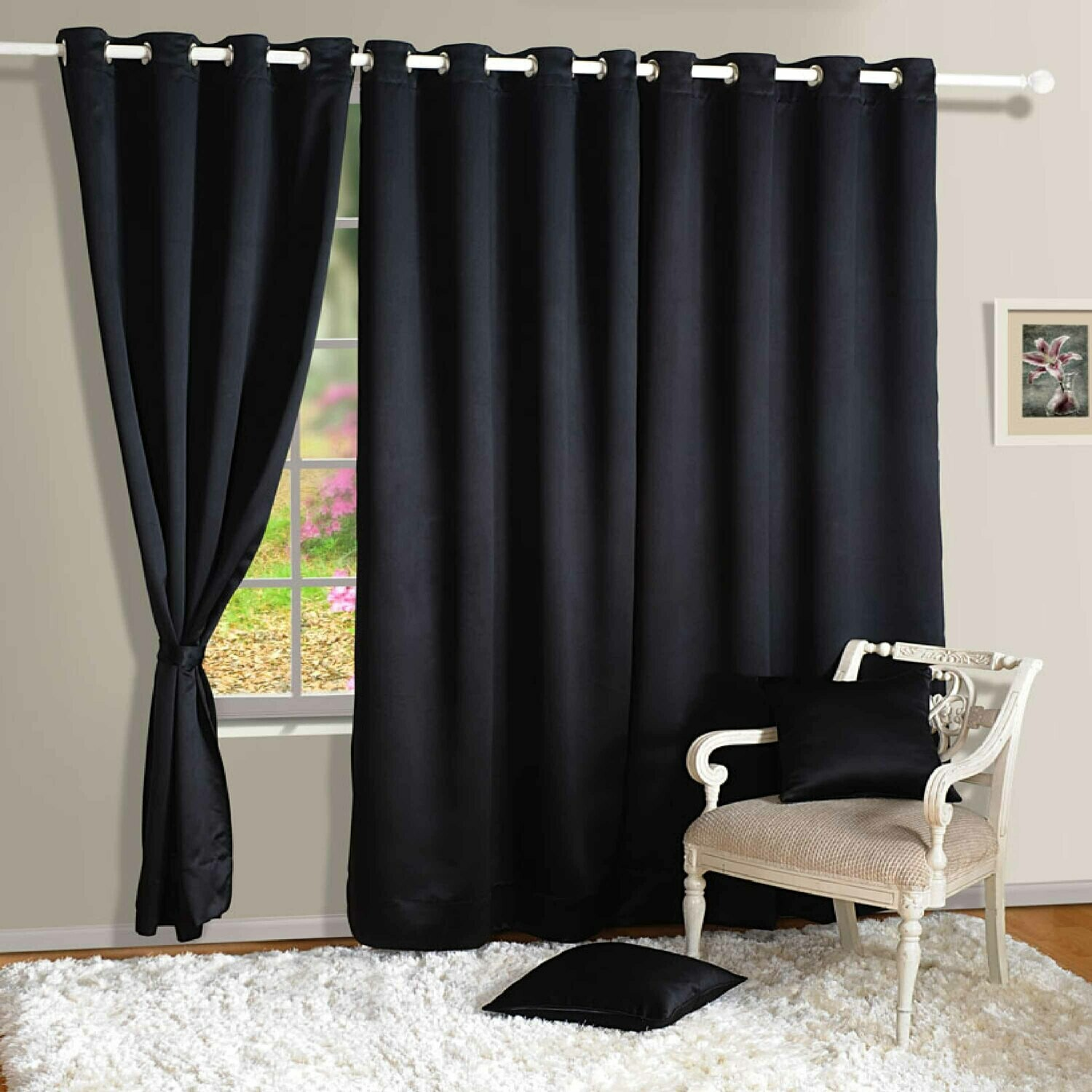 Swayam Black Colour Solid Blackout Eyelet Curtain for Door