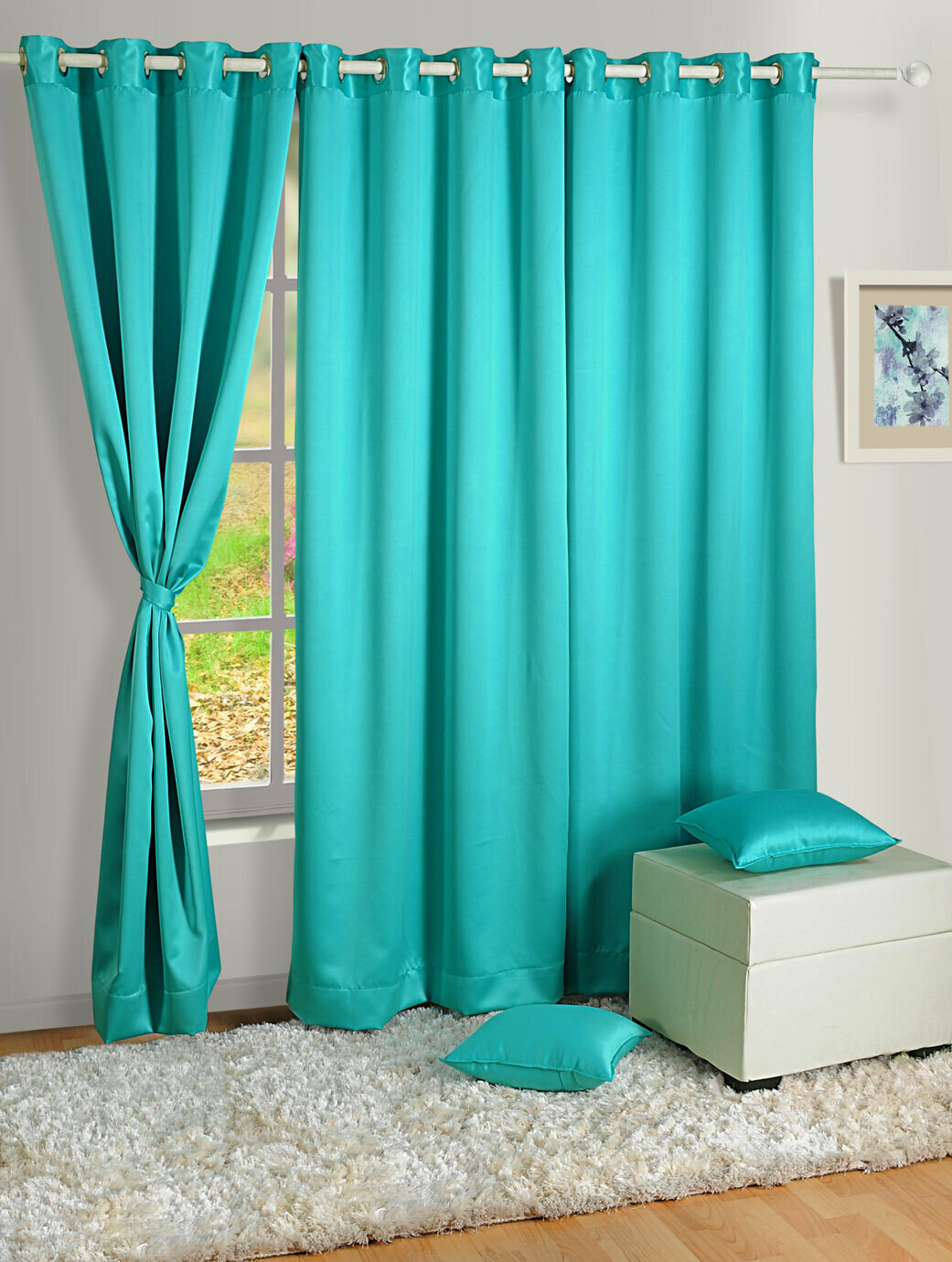 Swayam Blue Colour Solid Blackout Eyelet Curtain for Door