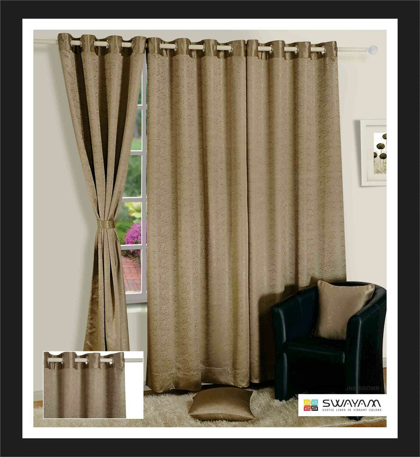Swayam Beige Colour Paisley J&B Blackout Eyelet Curtain for Window