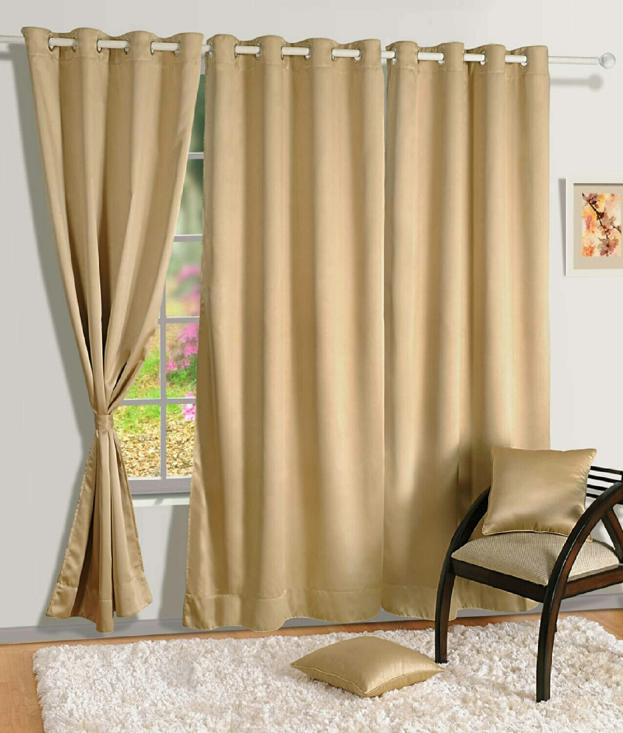 Swayam Beige Colour Solid Blackout Eyelet Curtain for Window
