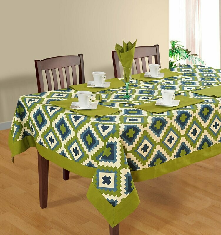 SWAYAM Green Colour Printed 4 Seater Flat Table Cover