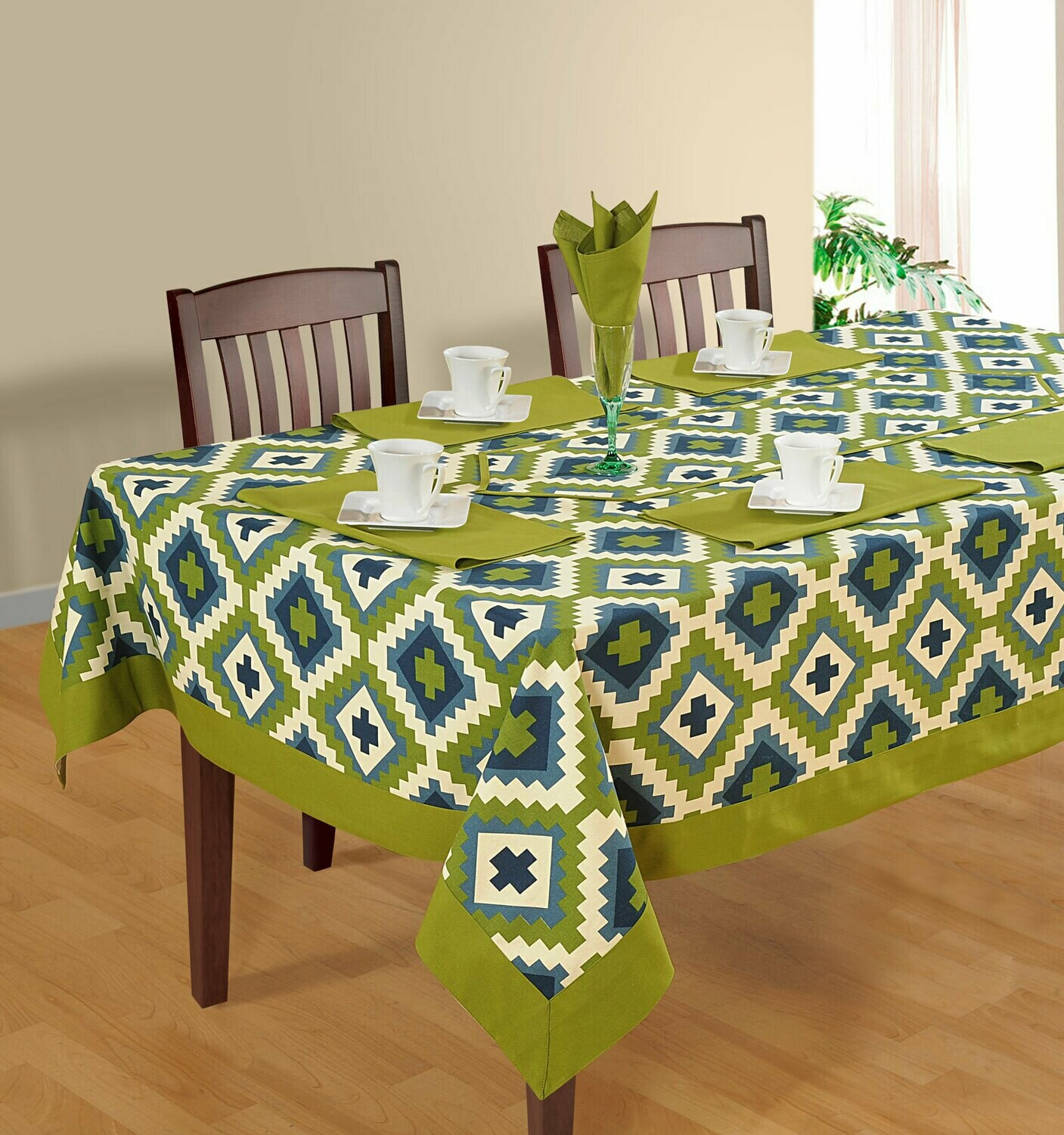 SWAYAM Green Colour Printed 6 Seater Flat Table Cover