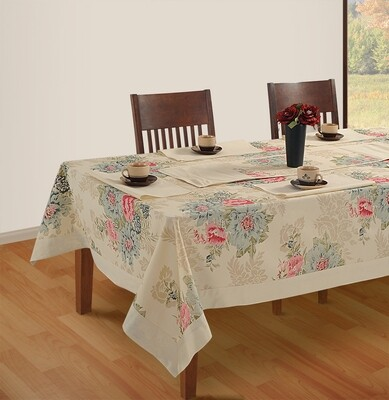 SWAYAM  Off White Colour Printed 4 Seater  Table Cover