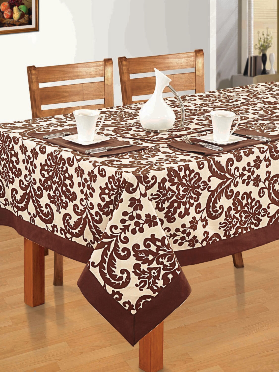 SWAYAM Brown Colour Printed 4 Seater Flat Table Cover