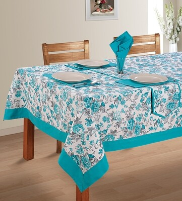 SWAYAM Teal Colour Printed 4 seater Flat Table Cover